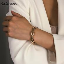 Salircon Simple Exquisite Bangle Bracelet Jewelry Charm Gold Silver Circle Round Geometric Chain Accessories Women