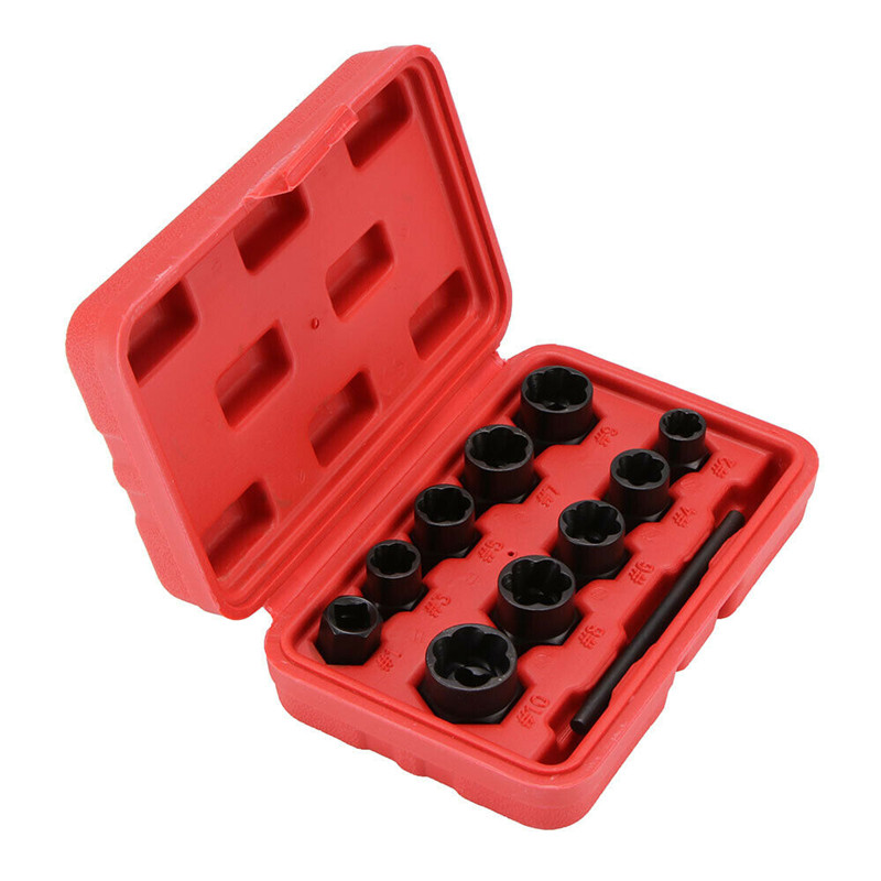 11PCS Nut Removal Tool Car Wheel Nut Socket Install Removal Tool Locking Wheel Nut Remover Damaged Rounded Bolts Nut Extractor