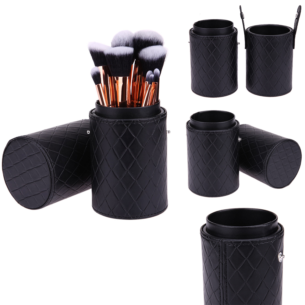 Portable Cosmetic Brush Box PU Leather Makeup Storage Holder Cosmetic Cup Case Box For Makeup Brush Pen