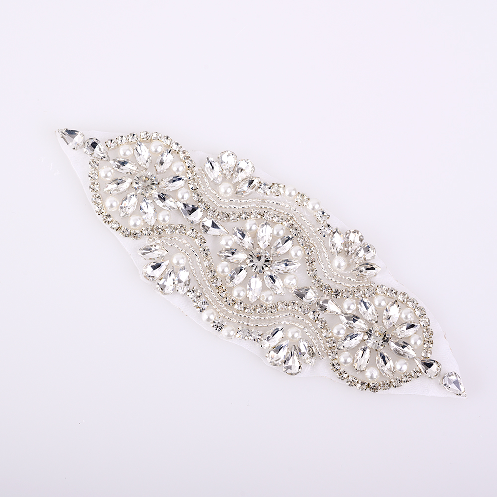 1PC Silver Beads Rhinestone Applique Wedding Bridal Dress Belt Ribbon DIY Decor