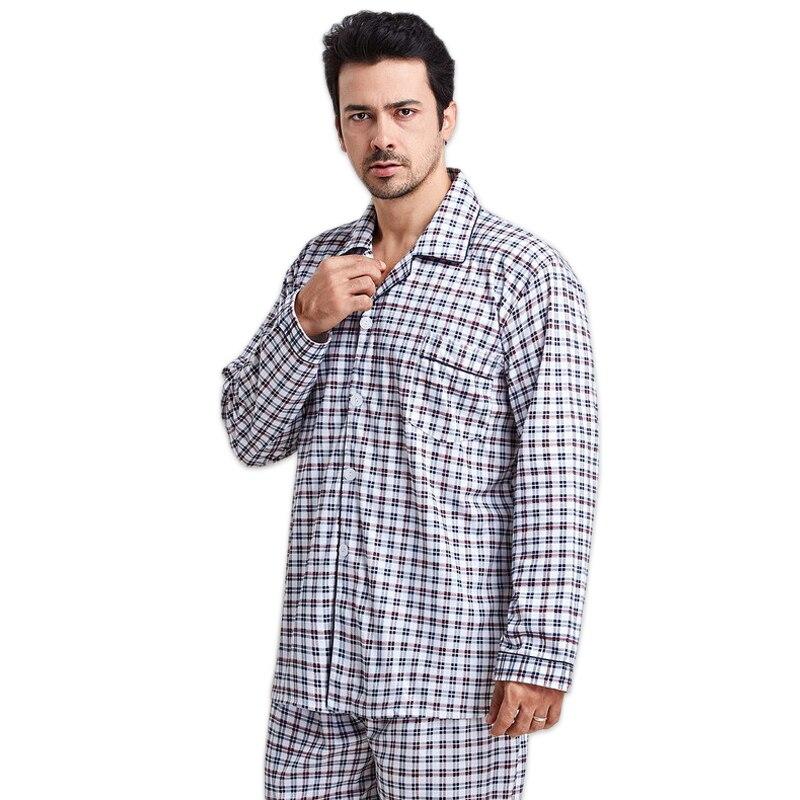 New Spring Simple Plaid Cotton Man Sleepwear Long Sleeves Pyjamas Homme Casual Mens Pajama Sets Cotton Men Nightwear