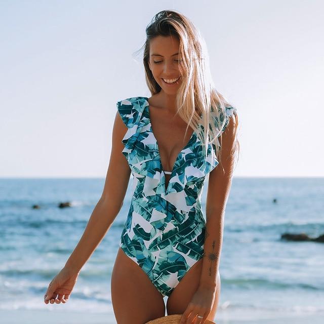 Sexy One Piece 2020 Swimsuit Push Up Swimwear Women Ruffle Monokini Adjustable Shoulder Swimsuit Bodysuit Bathing Suit Swim Wear 2