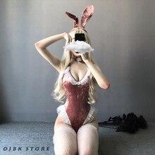 น่ารัก Anime Bunny คอสเพลย์เครื่องแต่งกายฮาโลวีนผู้หญิง Rose สีชมพูกำมะหยี่เซ็กซี่ชุดเร้าอารมณ์ Roleplay Kawaii ชุดชั้นในคู่