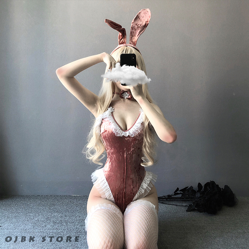 Cute Anime Bunny Girl Cosplay Costume Halloween Women Rose Pink Velvet Sexy Jumpsuit Erotic Roleplay Kawaii Lingerie For Couple