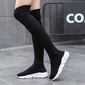 Image 2 - أحذية خريفي للنساء أحذية طويلة مطاطية أحذية قماشية قابلة للانزلاق فوق الركبة أحذية حريمي بكعب أحذية للنساء 2020 بوتاس دي موجر