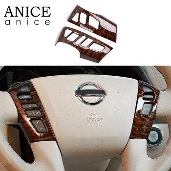 Mahogany Texture Steering Wheel Frame Decorator Fit For Nissan Patrol Y62 Armada(2017-2019) Infiniti QX80(2018-2019)