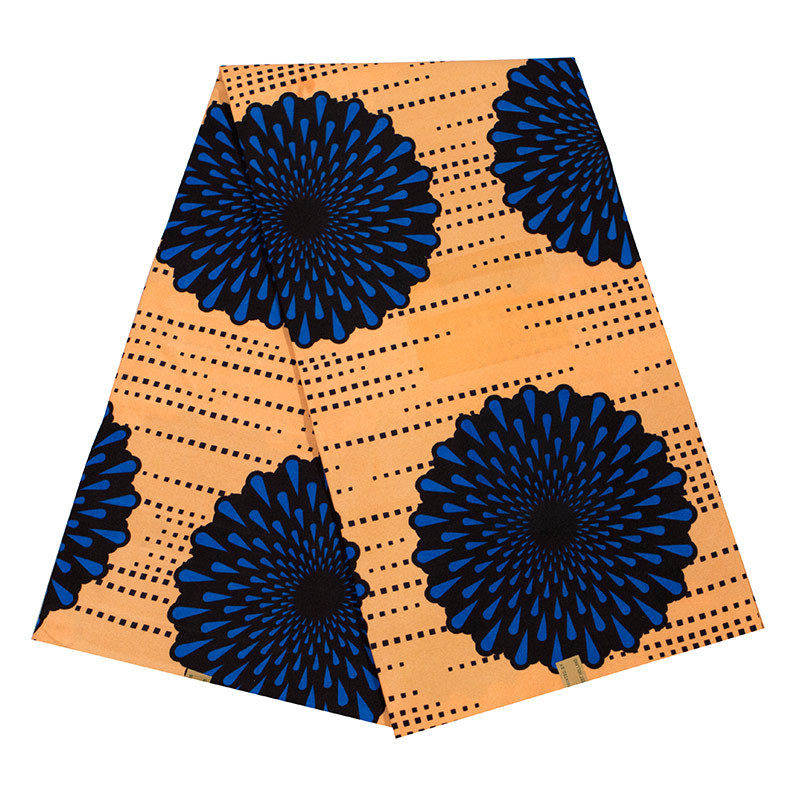 New Arrivals Fashion Design African Real Dutch Wax Blue & Black Flowers Printed Fabric African Real Wax Fabric 6Yards