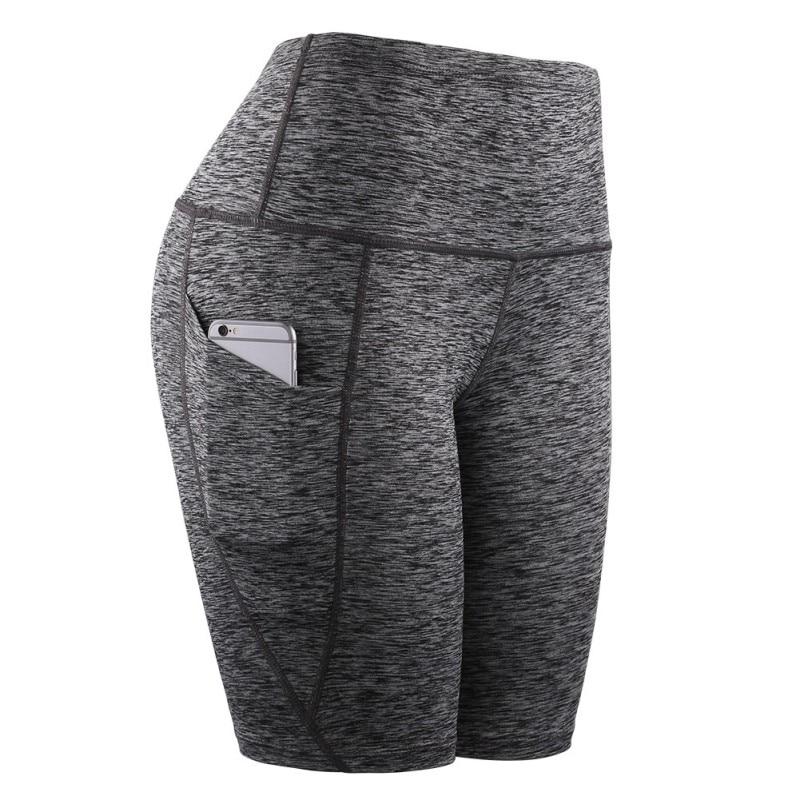 Women Slant Pocket Middle Waist Shorts Running Training Sports Quick-drying Tight-fitting Stretch Fitness Yoga Shorts