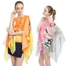 New chiffon print shawl for summer sun protection