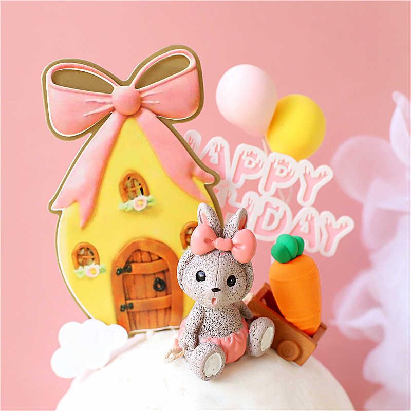 Bogen Haus Spielzeug trolley Kaninchen Kuchen Topper Glücklich Geburtstag Party Dekorationen für Kind Baby Dusche Backen Liebe Geschenke