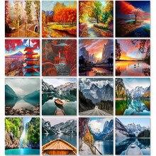 Pintura acrílica de paisaje por conjunto de números, pintura al óleo para adultos, Kits DIY, cuadro de lona, dibujo, colorear por números, decoración artística