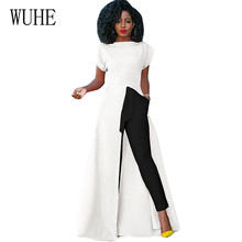 WUHE Sexy Party Wear Vestidos Short Sleeve High Side Split Bodycon Maxi Dress Women White Black Elegant Long Dress Robe Longue sexy evening party bodycon dress short sleeve knitted dress party night club dress gold shinning robe longue ete 2018 vestidos