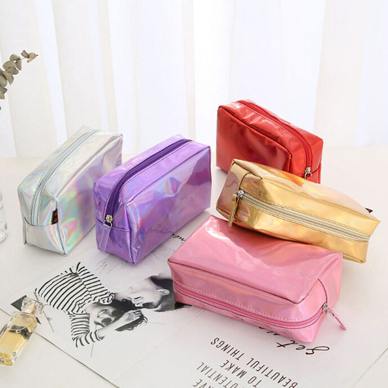 New Laser Cosmetic Bag Fashion Holographic Makeup Pouch Laser Zipper Toiletry Cases Makeup Bag Pencil Case 5 Colors