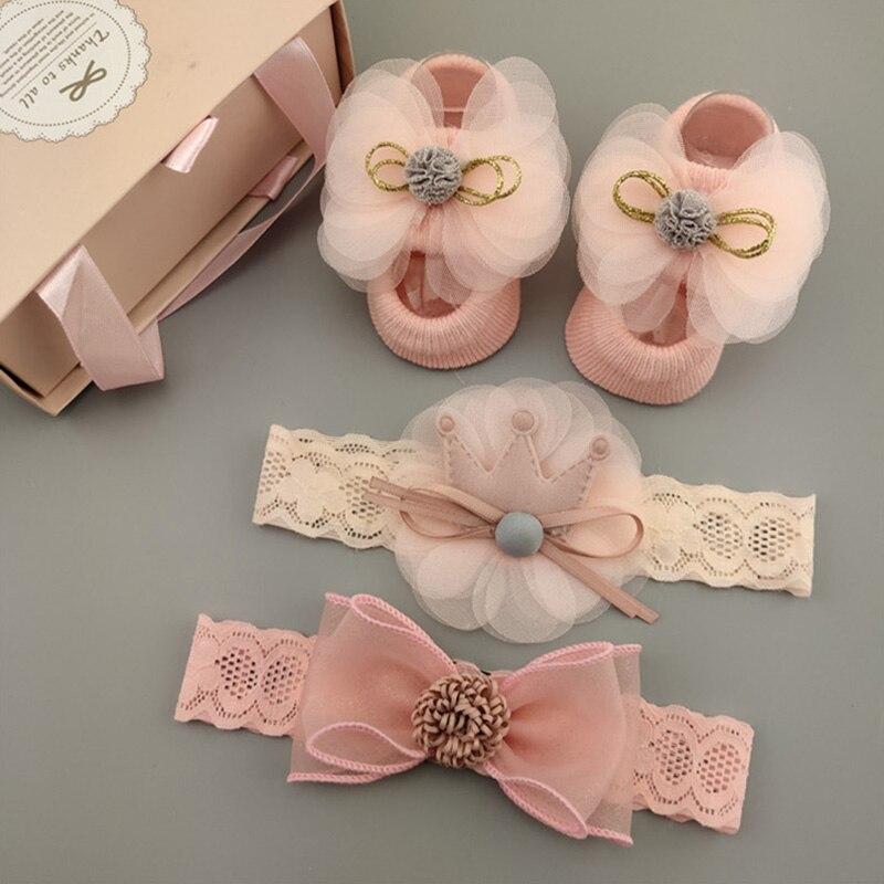 3 unids/set de flores de encaje para bebé niña vincha calcetines Set corona arcos cinta para el pelo para Recién Nacido diademas para niñas turbante accesorios para el cabello de bebé