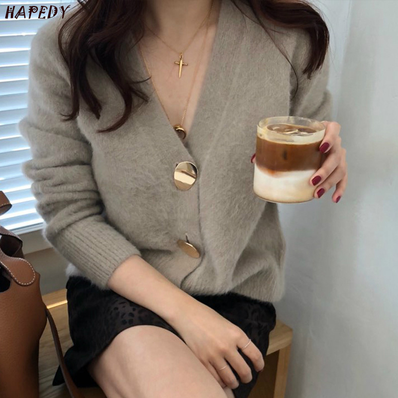 New Fashion Golden Shiny Button Single Breasted Woolen Women Cardigans Sweater Casual Female Warm Elegant Spring Autumn CA6894