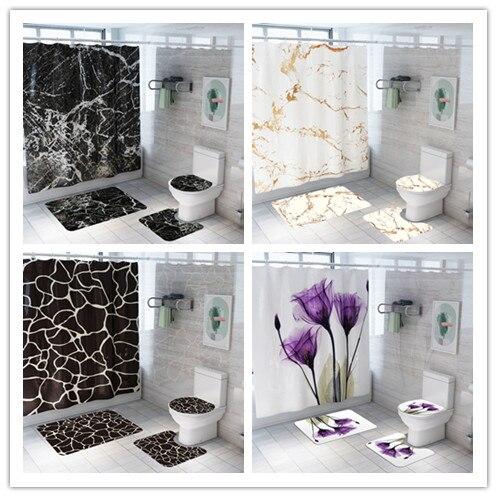 พิมพ์หินอ่อนผ้าม่าน 4 ชิ้นพรมฝาครอบห้องน้ำ Bath MAT Pad ชุดผ้าม่านห้องน้ำ 12 ตะขอ