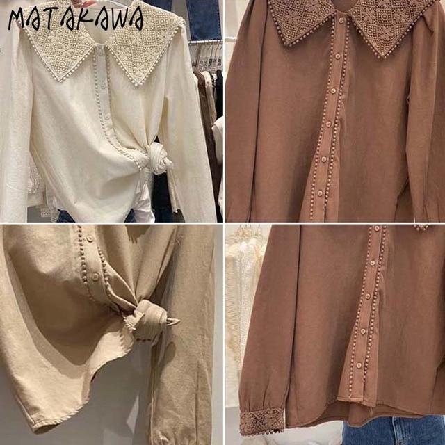 MATAKAWA Sweet Casual Blouse Women Top Korean Lace Hook Flower Blusas Turn-down Collar Long-sleeved Shirt Female 4