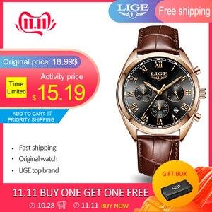 Image 2 - LIGE relojes para hombre, resistente al agua, con fecha de 24 horas, de cuarzo, reloj de pulsera deportivo de cuero, Masculino, 2020