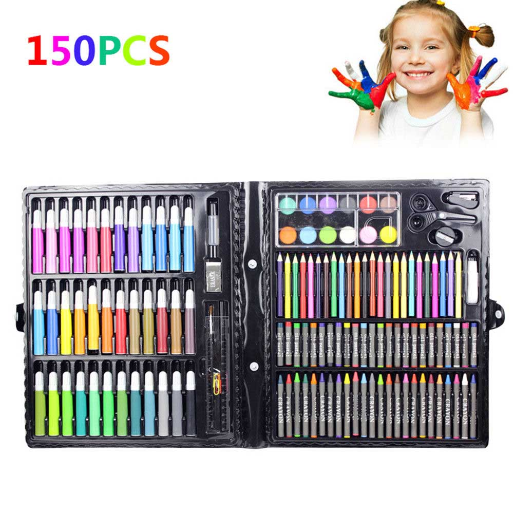 150 Pcs/Set Drawing Tool Kit  Kids Art Set  Painting Brush Art Marker Water Color Pen Crayon Kids Gift Art Supplies Stationery