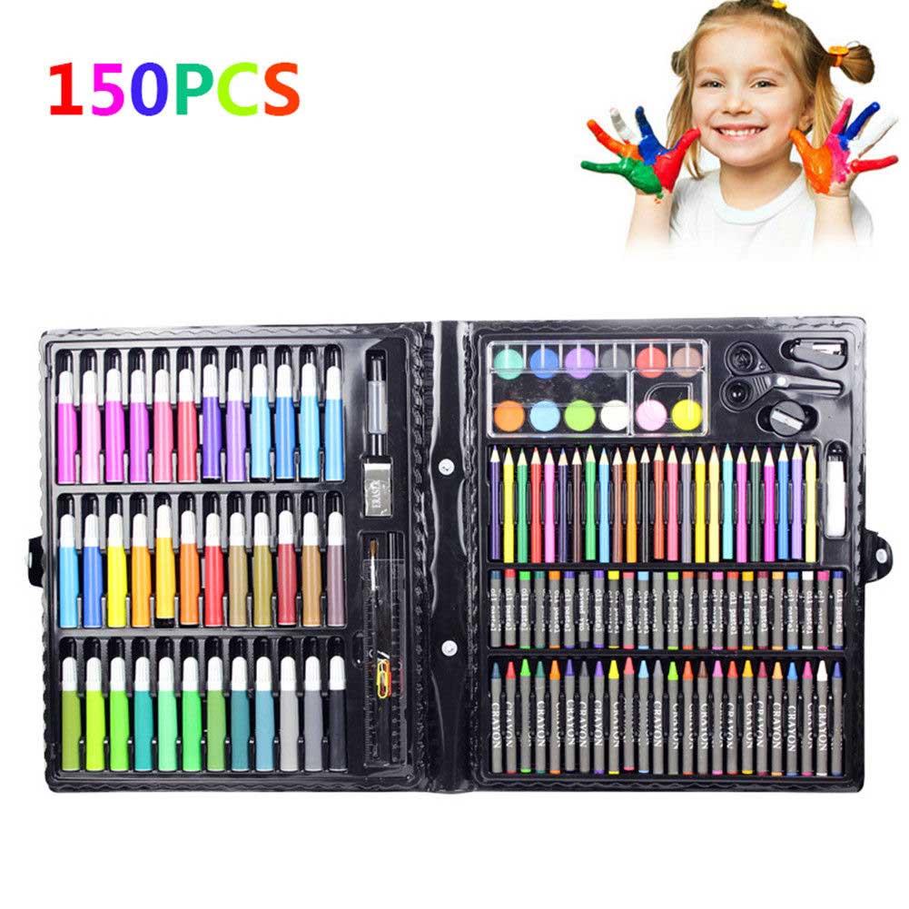 150 Pcs/Set Drawing Tool Kit  Kids Art Set  Painting Brush Art Marker Water Color Pen Crayon Kids Gift Art Supplies Stationery