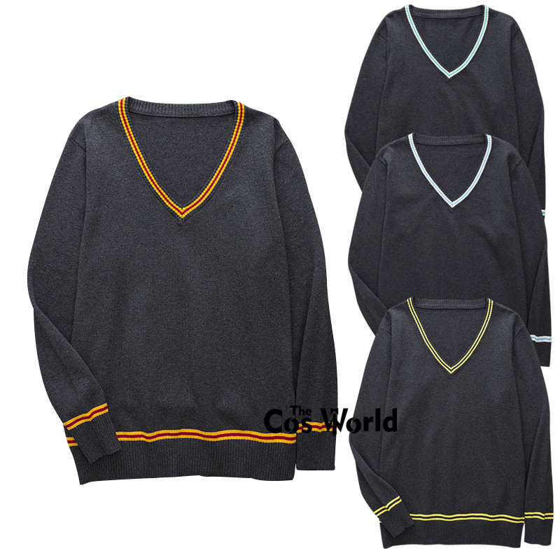 XS-XXL Spring Autumn Men's Women's Long Sleeve Stripes Knit Tops Pullovers V Neck Sweaters For JK School Uniform Student Clothes