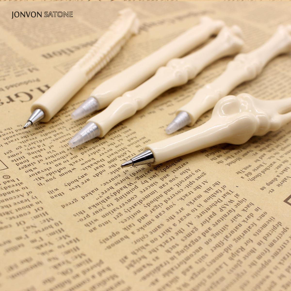 Jonvon Satone 100 Pcs Wholesale Bone Pen Ball Pens Monster Toy Ballpoint Pen Stationery School Supplies Office Accessories Stylo