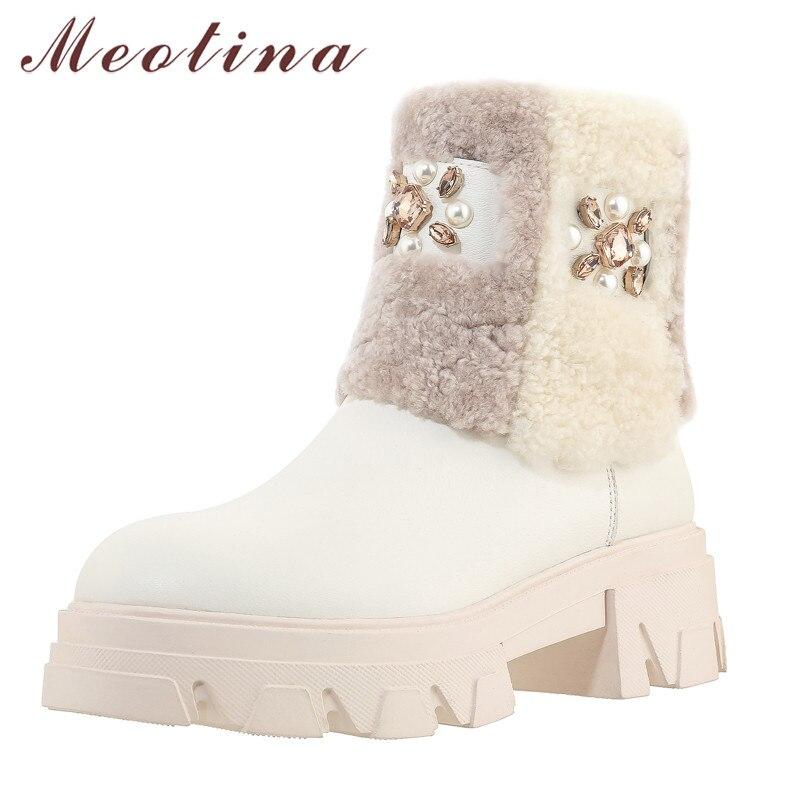 Купить meotina/зимние ботинки из натуральной кожи и шерсти на платформе