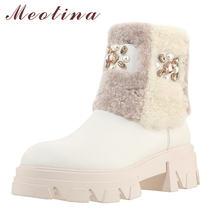 Meotina/зимние ботинки из натуральной кожи и шерсти на платформе