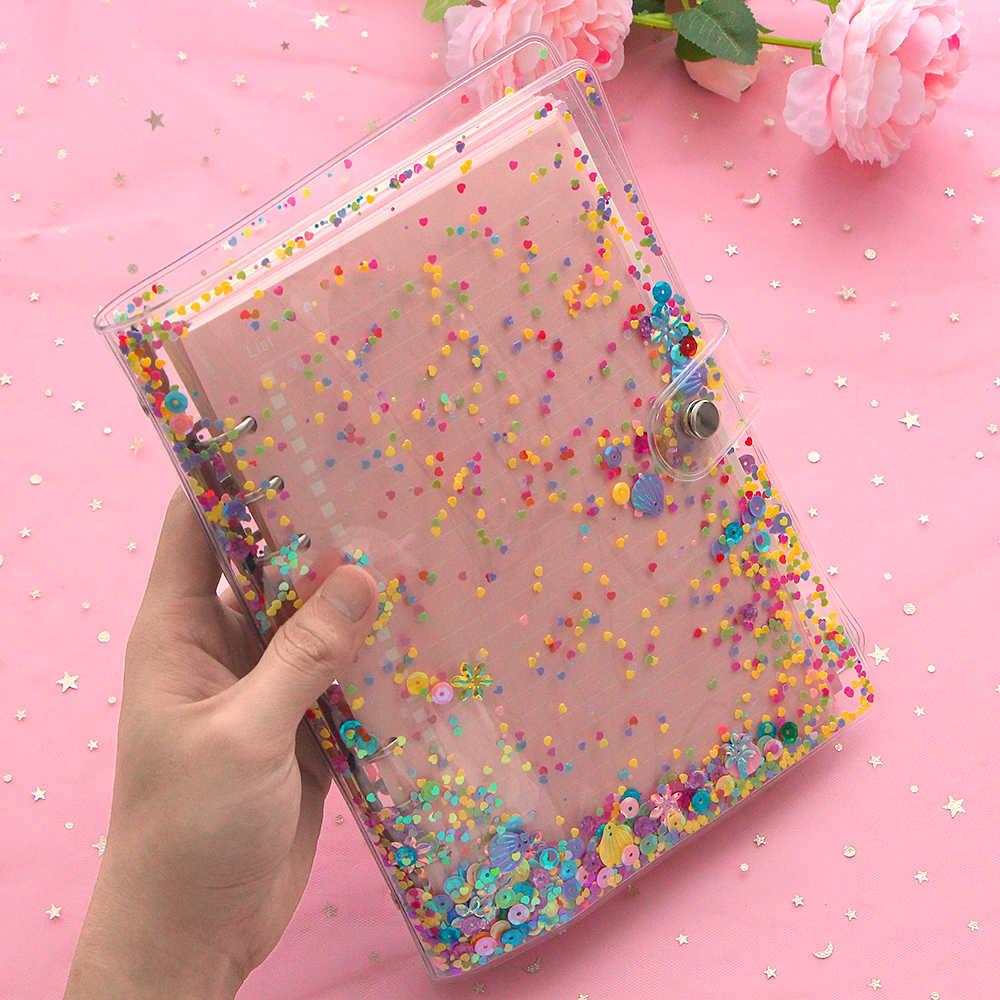 A5 A6 KawaiiหลวมLeaf Notebook Planner Shiny Quicksand 6 Binder Simple Diary Shellเครื่องเขียนSupply