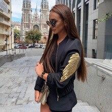 Auyiufar Casual Fashion Zipper Womens Jacket Long Sleeve Autumn New Wing Print Short Coat 2019 Skinny Streetwear Solid Clothing