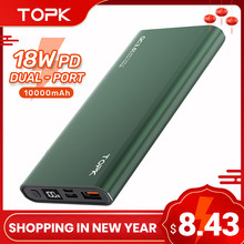 TOPK batterie d'alimentation 10000mAh chargeur Portable LED batterie externe PowerBank PD deux voies charge rapide paupérine pour iPhone Xiaomi mi