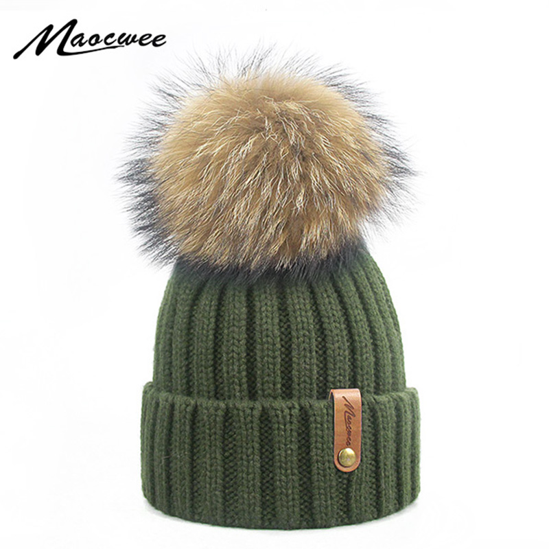 White Green Real Fur Pom Pom Female Winter Hats Mink Ball Hat Women Girl 'S Hat Knitted Cotton Beanies Cap Brand Skullies 2019