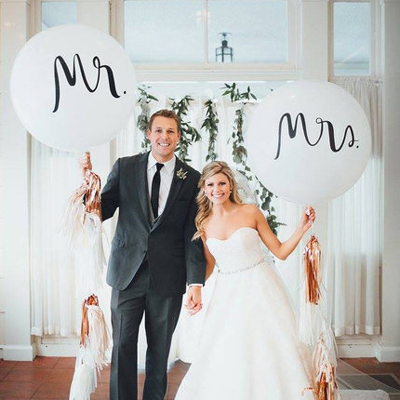 36inch Mr Mrs White Latex Big Size Balloons for Wedding Party/Bridal Bride/Engaged Party 1