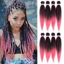 Hair-Bundle Soku Braiding Synthetic-Hair-Extensions Stretched Yaki Straight SHANGZI Ombre