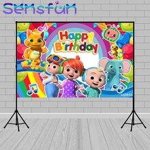 Cocomelon Party Photo Achtergrond Custom Jongen 1st Verjaardag Party Decor Banner Photocall Regenboog Baby Douche Fotografie Achtergrond