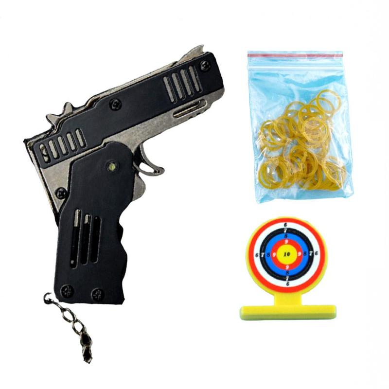 Mini Folding Can Hold The Key Chain Of The Rubber Band Gun Six Bursts Made All Metal Guns Shooting Toy Gifts Boys Outdoor Toys