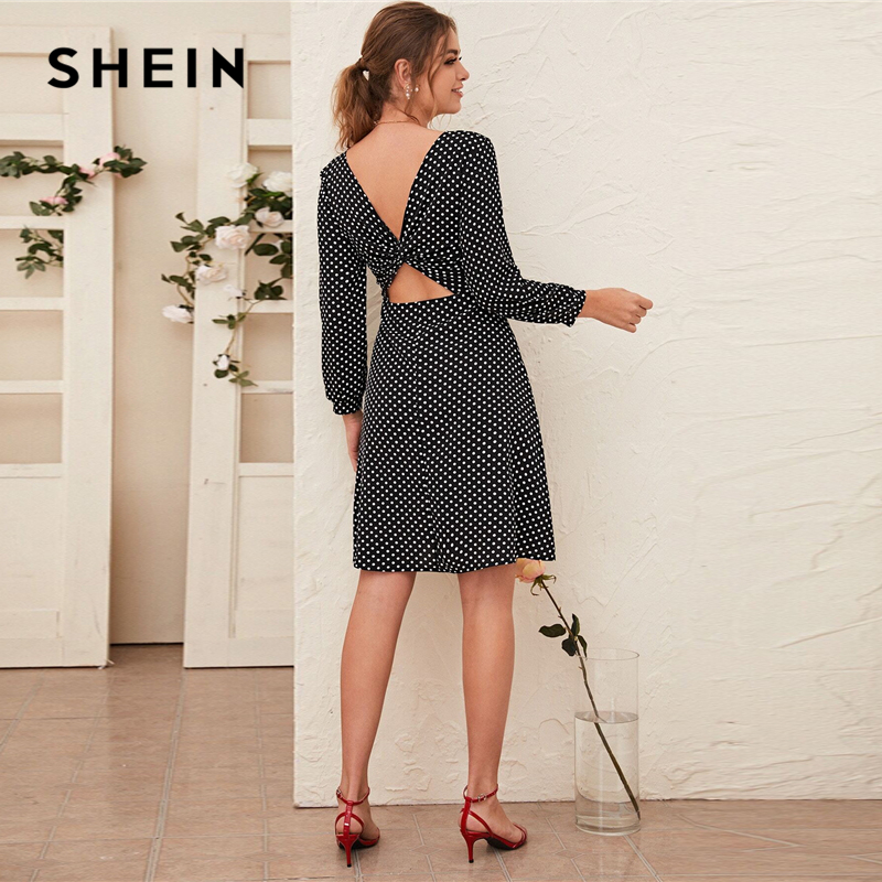 SHEIN Black and White Polka Dot V-cut Twist Back Dress Women Spring Long Sleeve High Waist Casual A Line Flared Dresses 2