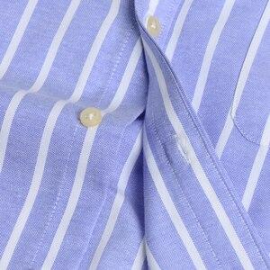 Image 5 - Herren Oxford Langarm Überprüfen Plaid Shirt Patch Brust Tasche Regelmäßige fit Checkered/Striped Printed Casual Taste unten Shirts