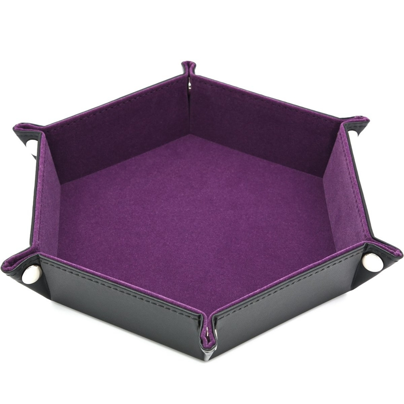 New Dice Pu Leather Folding Hexagon Tray W/Purple Velvet For Rpg Dnd Other Dice Games And Storage|Storage Trays| |  - title=