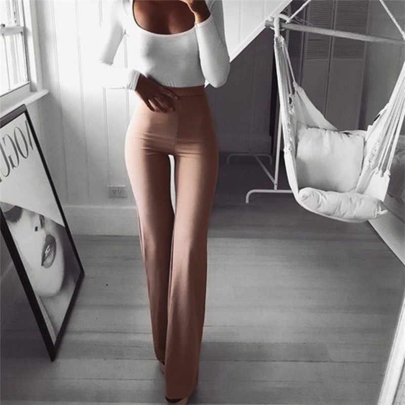 Sexy Frauen Hohe Taille Lange Hosen OL Damen Karriere Solide Palazzo Slim Flare Breite Bein Hosen Weibliche Pluderhosen