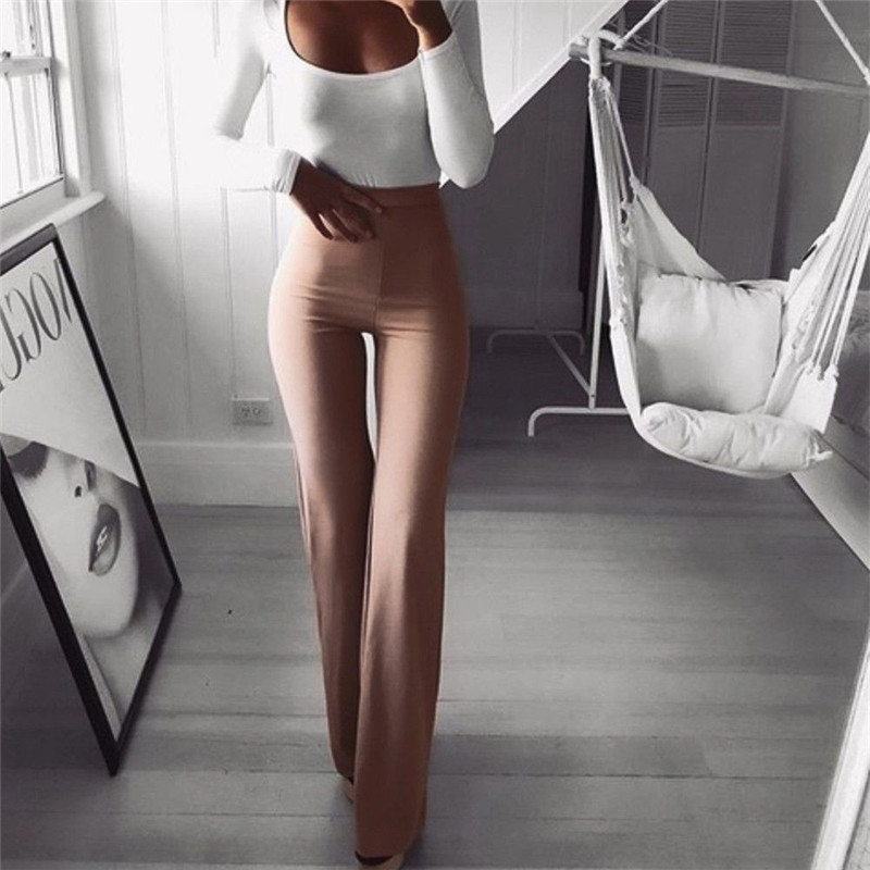 Sexy Women High Waist Long Pants OL Ladies Career Solid Palazzo Slim Flare Wide Leg Trousers Female Harem Pants