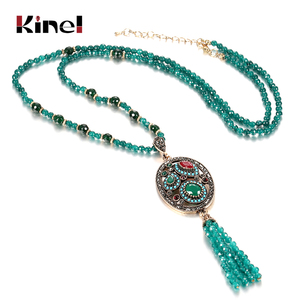 Kinel Luxury Natural Stone Necklace Antique Gold Green Crystal Beads Strand Tassel Necklace For Women Vintage Wedding Jewelry