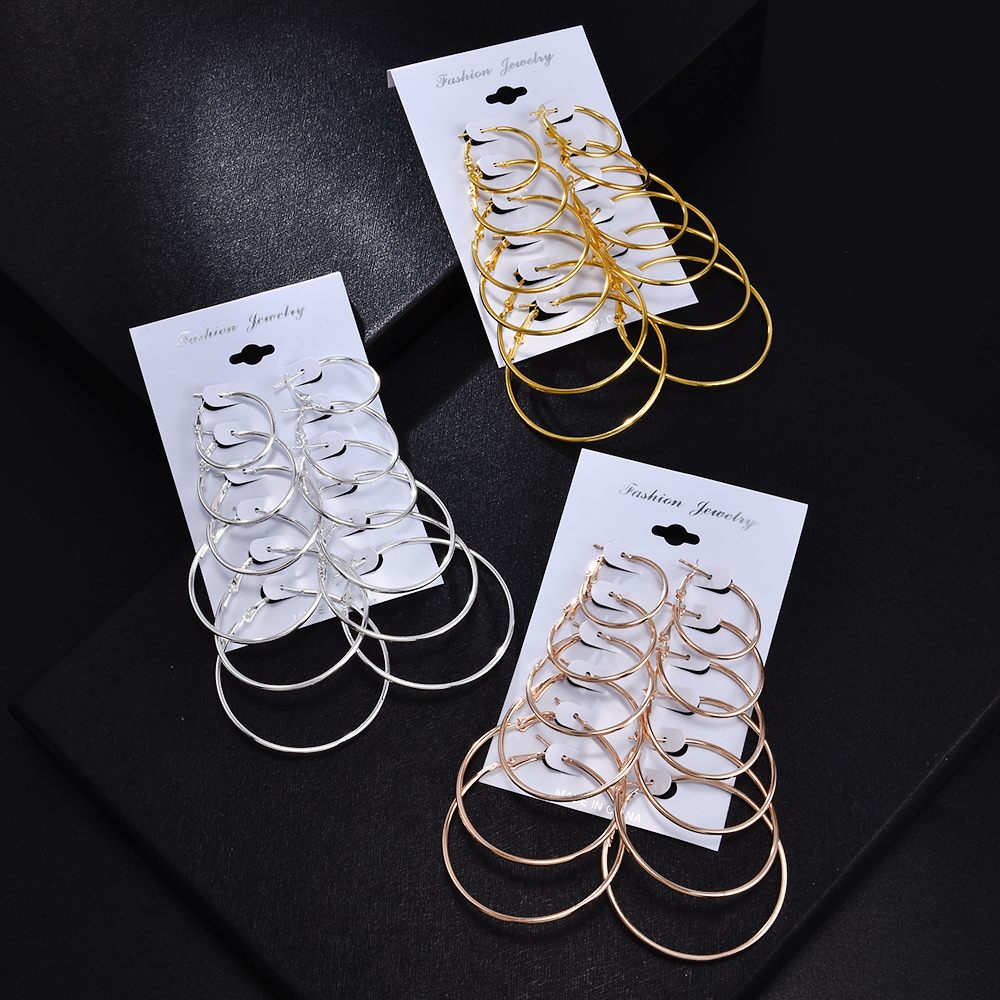 2020 New Simple 6 Pair/Set Fashion Metal Vintage Big Circle Earrings Gold Color Punk Party  Ear Earring Jewelry