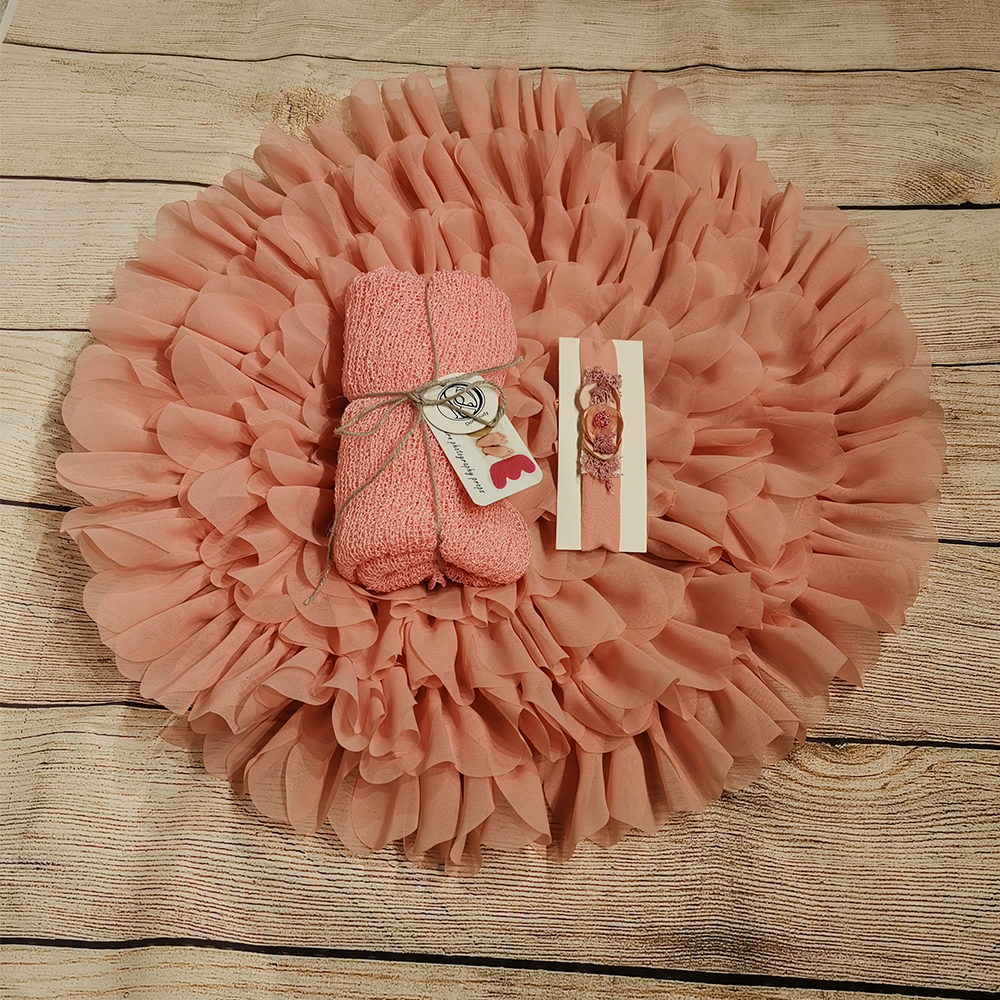 Don&Judy Flower Chiffon Blanket with Matched Stretch Wraps and Headband Sets Soft Cushion Photography Baby Props Newborn Props