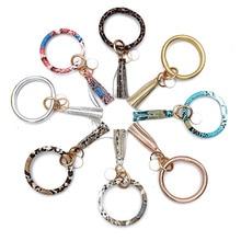 New Fashion Multiful Tassel Keychain Enamel PU Leather O Key Chain Monogram Circle Wristlet For Women Girls