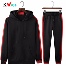 Men Tracksuit Sportswear Sets Fitness Tracksuit Men Hoodies Black And White Suits Casual Male Clothing 2 PC Sweatshirt+Pants