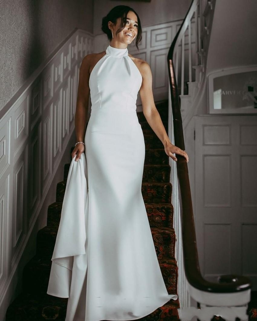 2020 New Halter Long Evening Dresses Simple Design Mermaid White Formal Evening Gowns Special Occasion Dresses