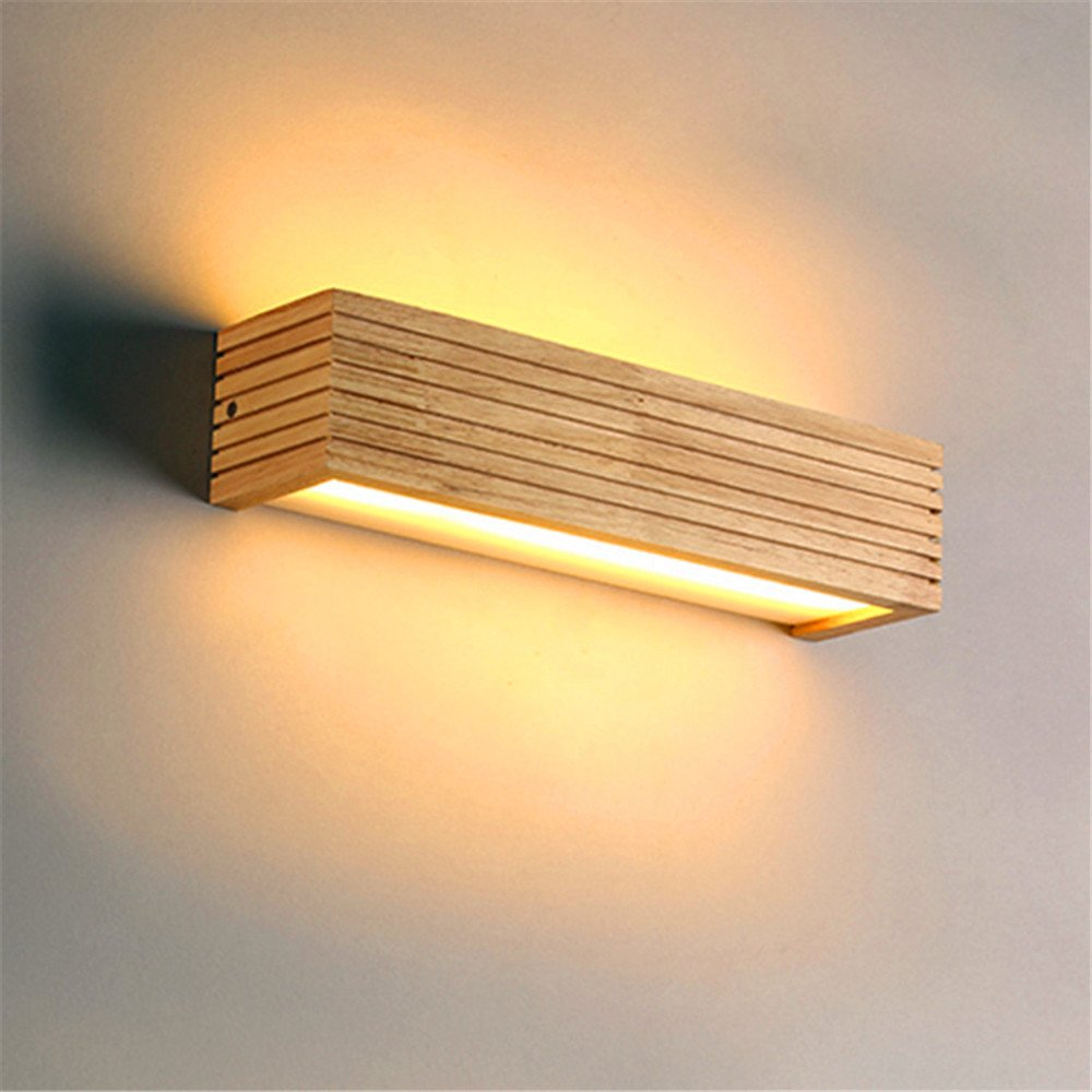 Modern Japanese Style Led Lamp Oak Wooden Wall Lamp Nordic Solid Wood Mirror Wall Lights Sconce