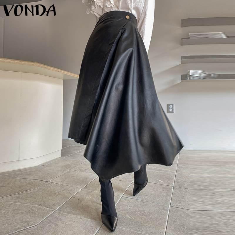 Stylish Skirts 2021 VONDA Women Casual Solid High Waist Long Skirts Plus Size Bohemian Streetwears Ladies Elegant Skirts 5XL