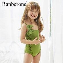 Цельный купальник с бантом для маленьких девочек; Однотонный